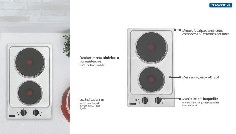 Cooktop Elétrico Tramontina Dominó em Aço Inox com 2 Placas