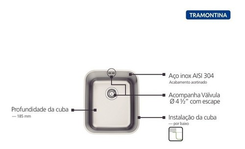 Cuba de Embutir Tramontina Dora em Aço Inox 34x40 cm