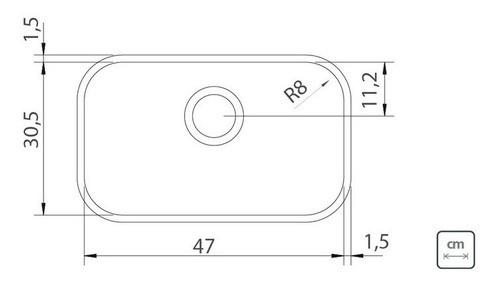 Cuba de Embutir Tramontina Lavínia Aço Inox Polido 47x30 cm