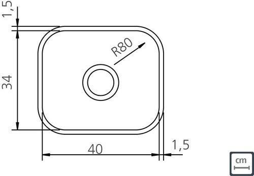 Cuba de Embutir Tramontina  Lavínia em Aço Inox 40x34 cm