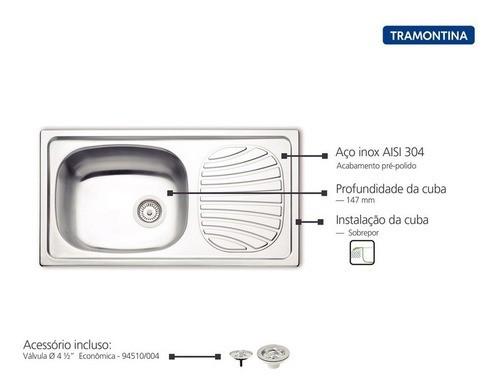 Cuba de Sobrepor Tramontina Alpha em Aço Inox 78x43 cm