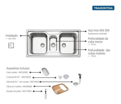 Cuba de Sobrepor Tramontina Marea Aço Inox 100x50 cm