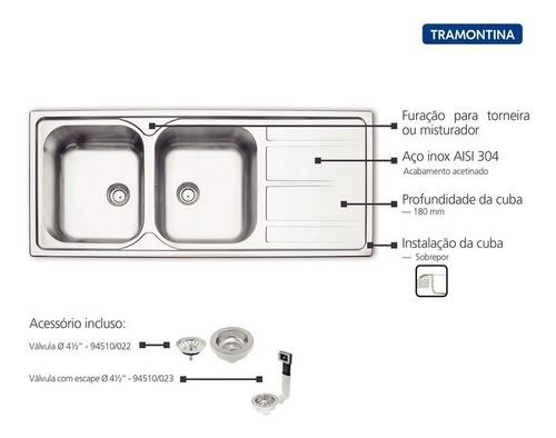 Cuba de Sobrepor Tramontina Marea em Aço Inox 116x50 cm