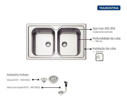 Cuba de Sobrepor Tramontina Marea em Aço Inox 86x50 cm