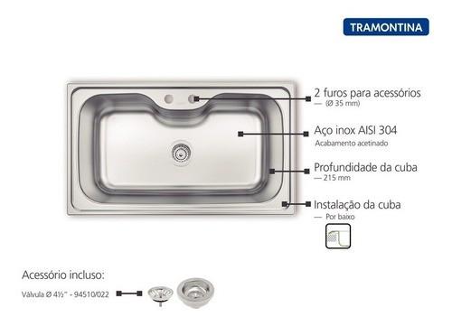 Cuba de Sobrepor Tramontina Morgana Maxi em Aço Inox 86x50cm