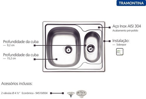 Cuba de Sobrepor Tramontina Vega em Aço Inox 62x50 cm