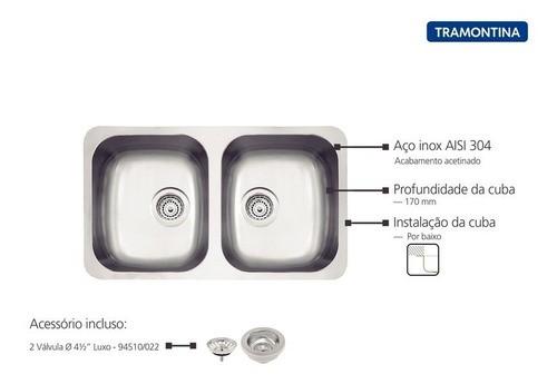 Cuba Embutir Tramontina Isis Plus Aço Inox Acetinado 72x40cm