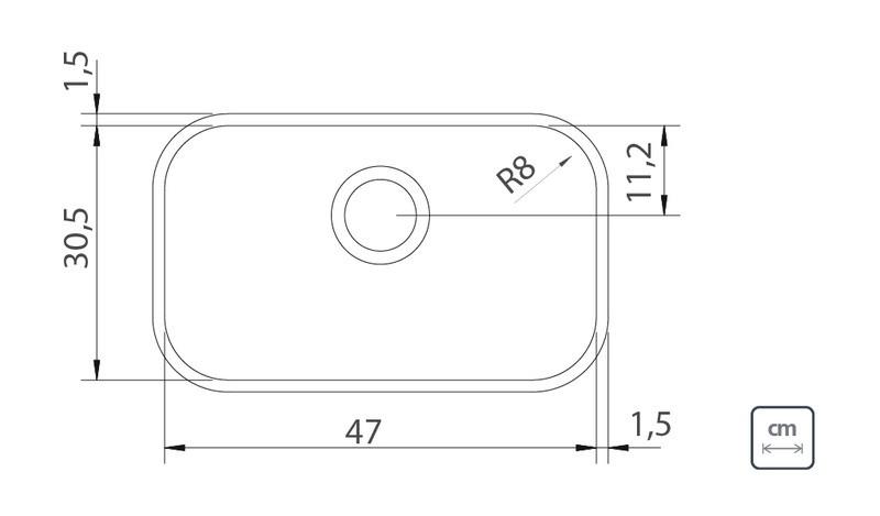 Cuba Embutir Tramontina Lavínia Aço Inox Acetinado 47x30 cm