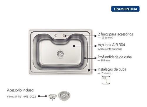 Cuba Tramontina Morgana Undermount em Aço Inox 69x49 cm