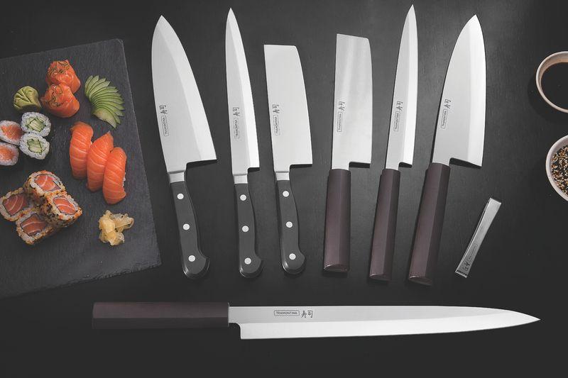 "Faca Deba Tramontina Sushi em Aço Inox e Cabo de Nylon 8"""
