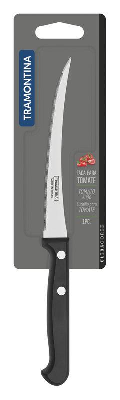 """Faca Tomate Inox 5"""" Ultracorte Preto Tramontina"""