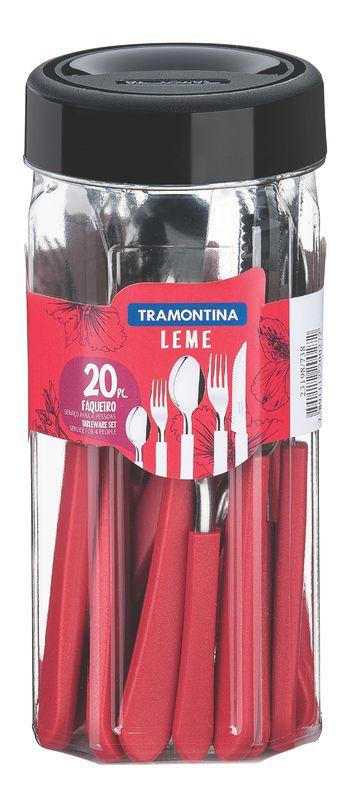 Faqueiro 20 peças Leme Vermelho Tramontina