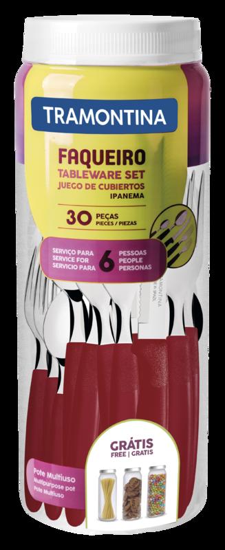 Faqueiro Inox 30 Peças Ipanema Vermelho Tramontina