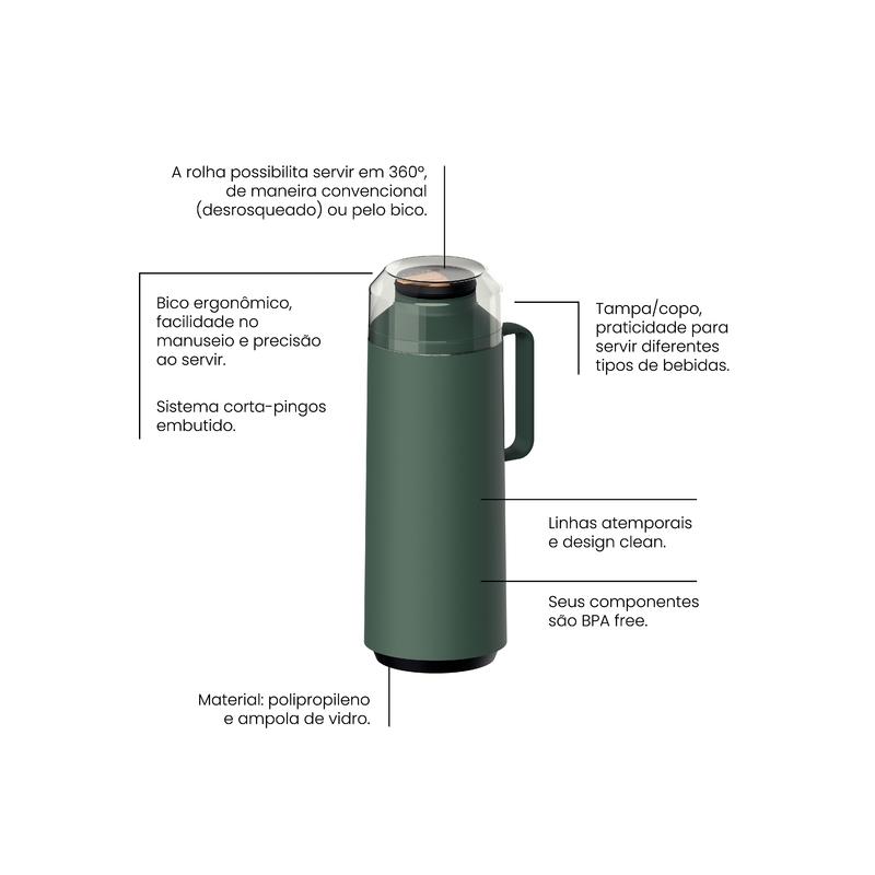 Garrafa Térmica Tramontina Exata Verde Ampola de Vidro 1 L