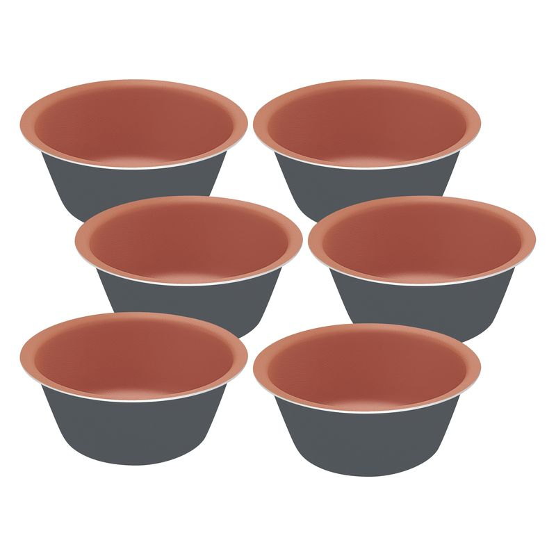 Jogo Cup Cakes Alumínio 6 Peças Bakery Cinza Tramontina