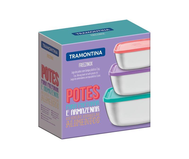 Jogo Potes Quadrados Inox Tampas Coloridas 3 Pçs Tramontina
