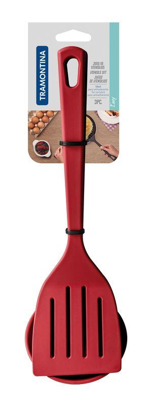 Jogo de Utensílios Tramontina Vermelho em Nylon 3 Peças