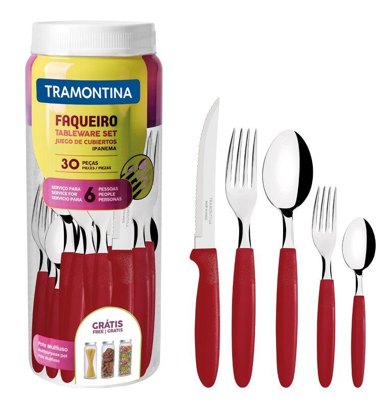 Kit 4 Faqueiros Inox 120 Peças Ipanema Vermelho Tramontina