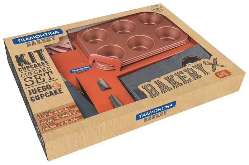 Kit Cup Cakes 6Pc Bakery Cinza Tramontina