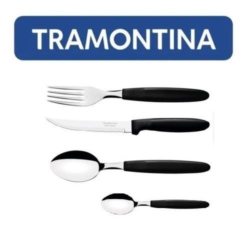 Kit Restaurante 72 Talheres Tramontina Ipanema Preto