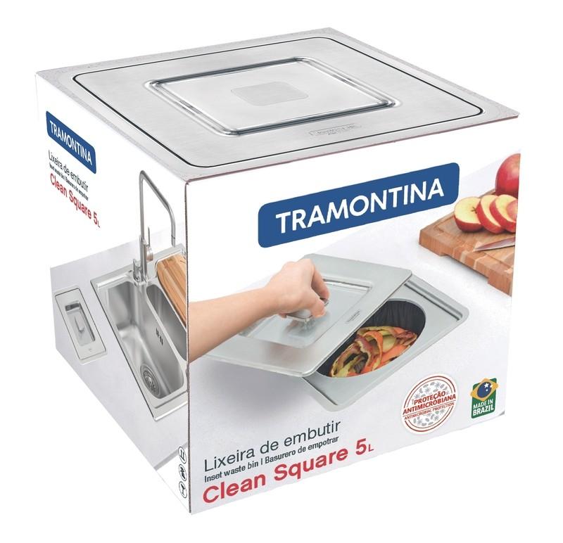 Lixeira Embutir Tramontina Clean Square Aço Inox  5 L