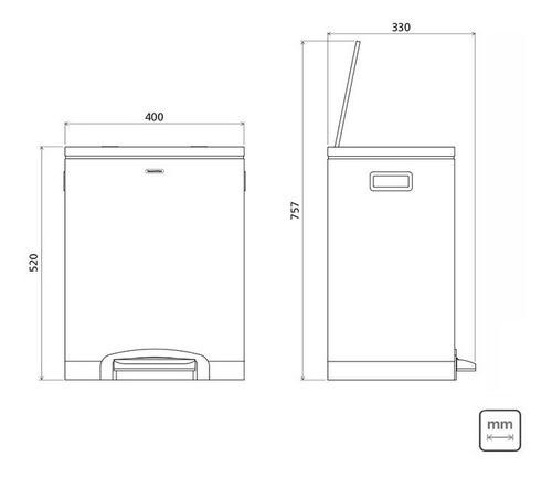 Lixeira Inox com Pedal Tramontina Quadratta Plus Dupla 2x15L