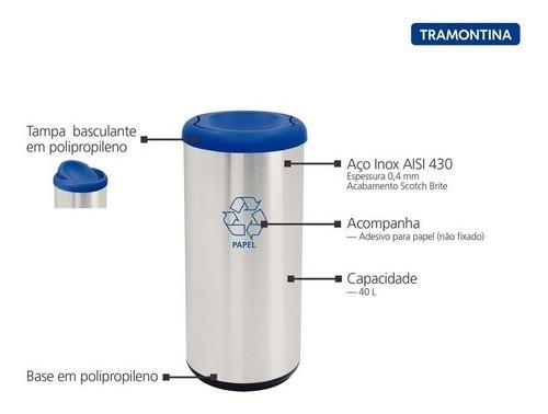 Lixeira Inox Tramontina Cápsula Selecta Plus Azul 40L