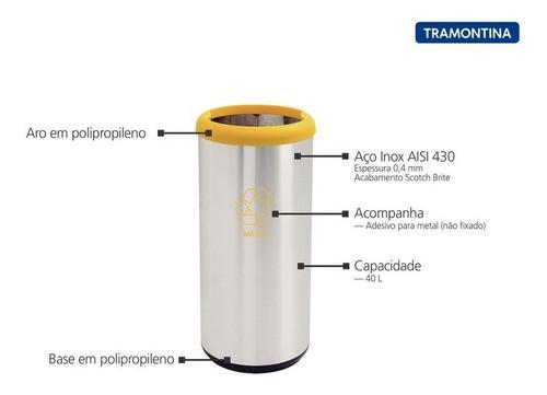 Lixeira Inox Tramontina Selecta Plus Amarelo Base Preta 40 L