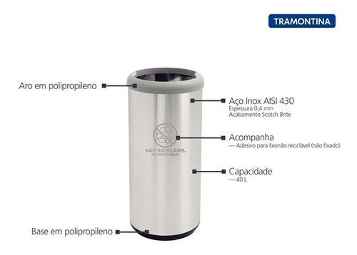 Lixeira Inox Tramontina Selecta Plus Cinza Preta 40 L