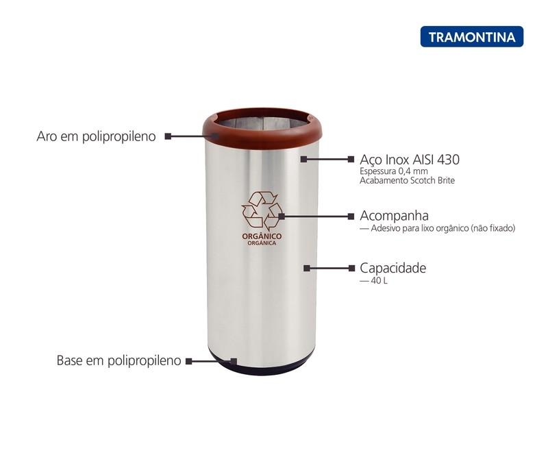 Lixeira Inox Tramontina Selecta Plus Marron e Base Preta 40L