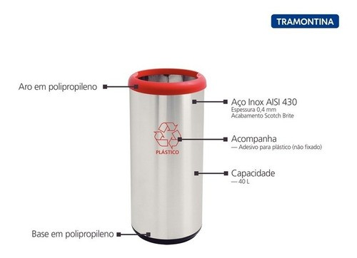 Lixeira Inox Tramontina Selecta Plus Vermelho Base Preta 40L