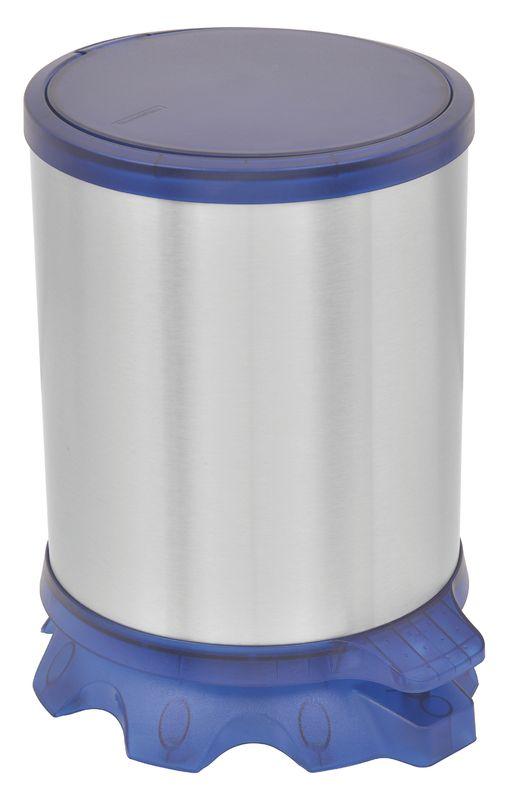 Lixeira Inox Tramontina Sofie com Corpo em Inox com Acabamento Scotch Brite e Detalhes em Plástico Translúcido Azul com Pedal 5 L Tramontina 94538804