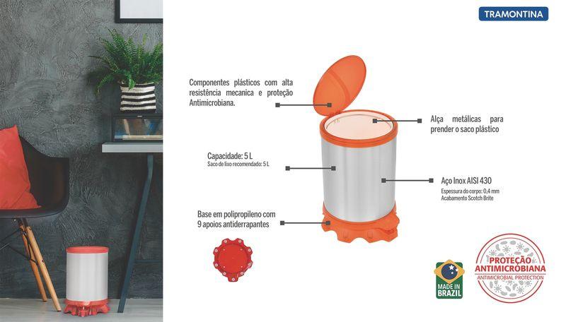 Lixeira Sofie Orange 5 litros Tramontina