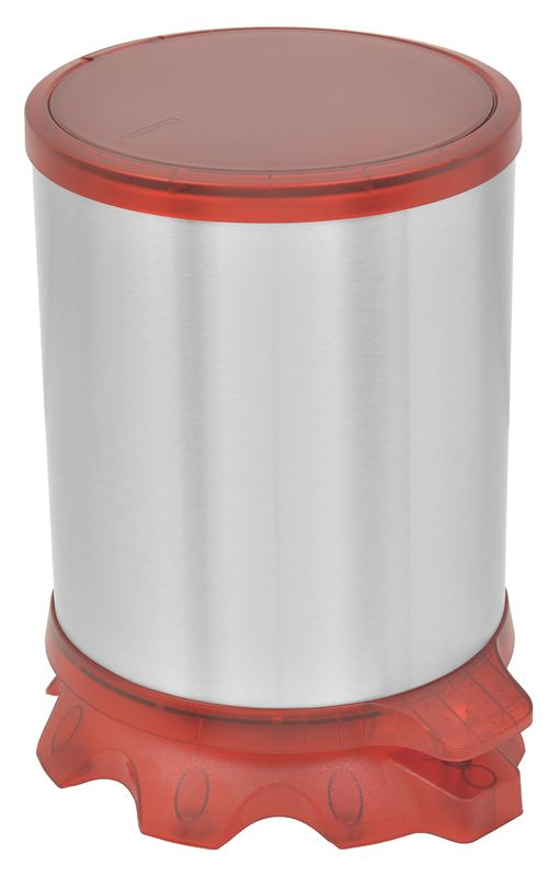 Lixeira Inox Tramontina Sofie com Corpo em Inox com Acabamento Scotch Brite e Detalhes em Plástico Translúcido Vermelho com Pedal 5 L Tramontina 94538805