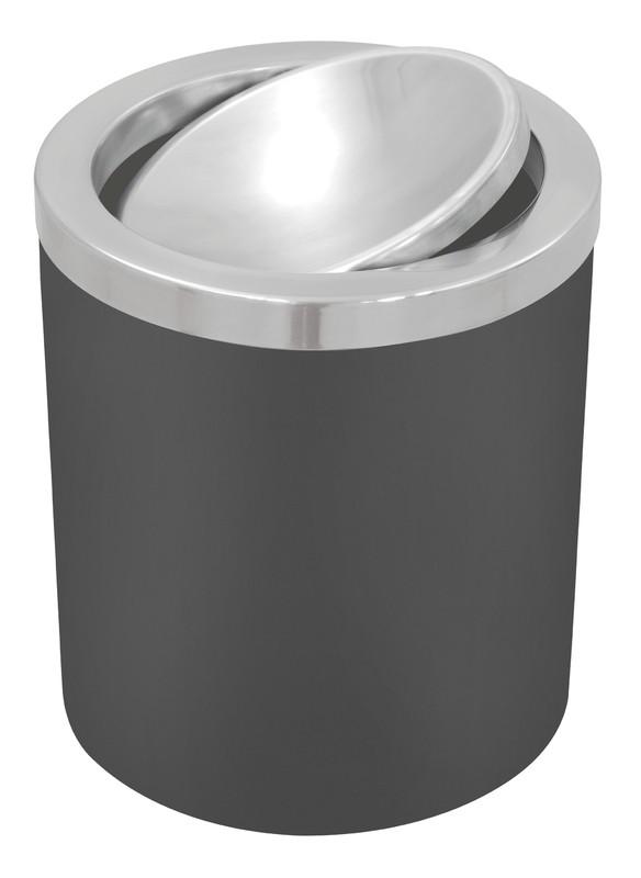 Lixeira Tramontina Útil Preto Basculante em Aço Inox 5 L