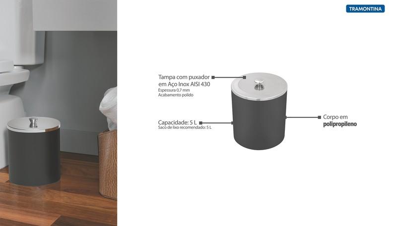 Lixeira Tramontina Útil Preto com Tampa em Aço Inox 5 L