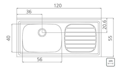 Pia de Apoio Tramontina Filo em Aço Inox 120x55 cm
