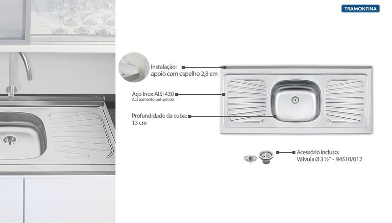 Pia de Apoio Tramontina New Raggi em Aço Inox 120x52 cm