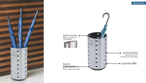 Porta Guarda-Chuva Tramontina Dry Aço Inox 15 L