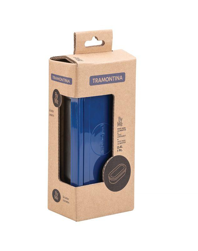 Pote Aço Inox 16x8 cm Marmita Com Tampa Azul Tramontina