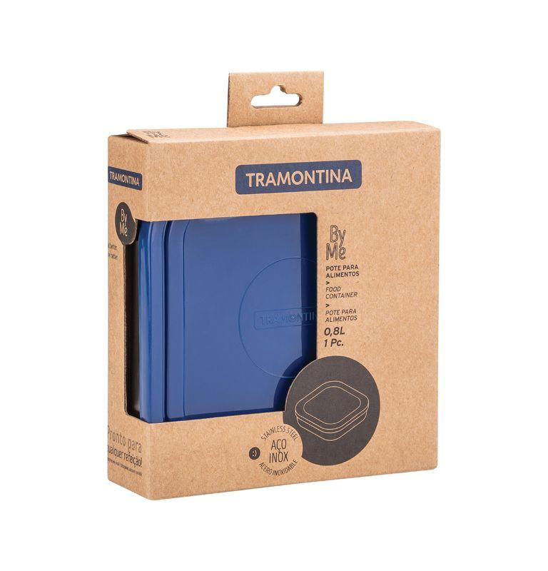 Pote Quadrado Aço Inox 0,8 litros Com Tampa Azul Tramontina