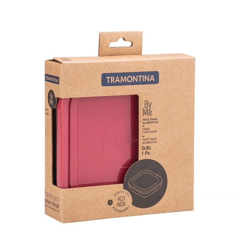 Pote Quadrado Aço Inox 0,8 litros Com Tampa Rosa Tramontina