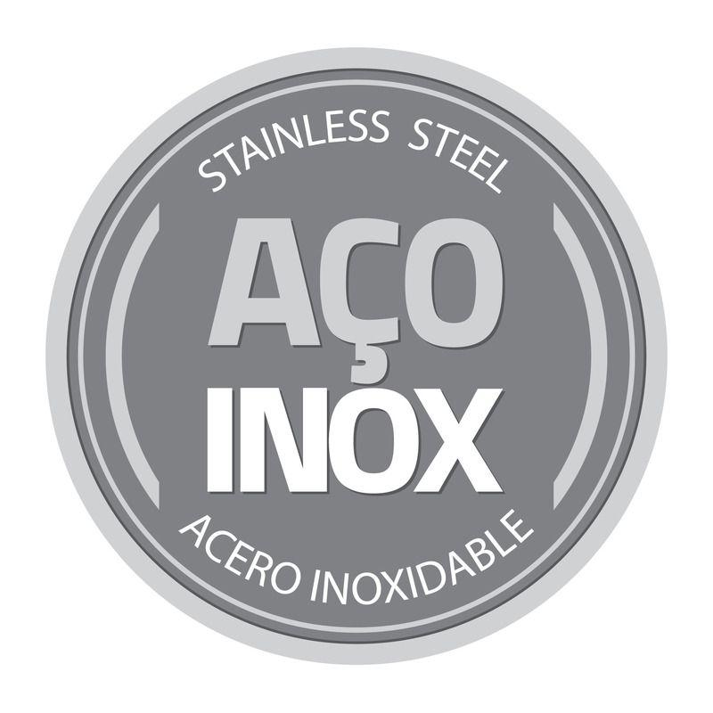 Pote Redondo Inox C/ Tampa Plástica 14 cm 0,8 L Tramontina