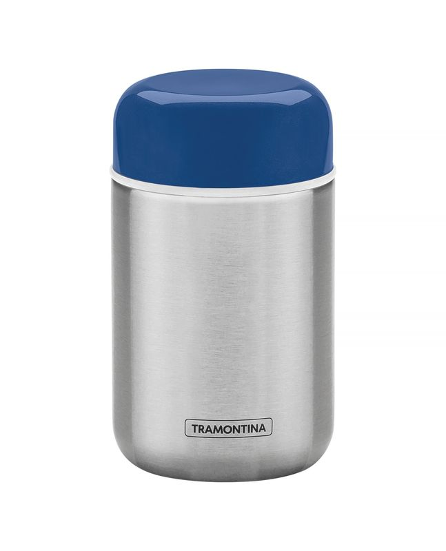 Pote Térmico Aço Inox 0,4 litros Tampa Azul Tramontina