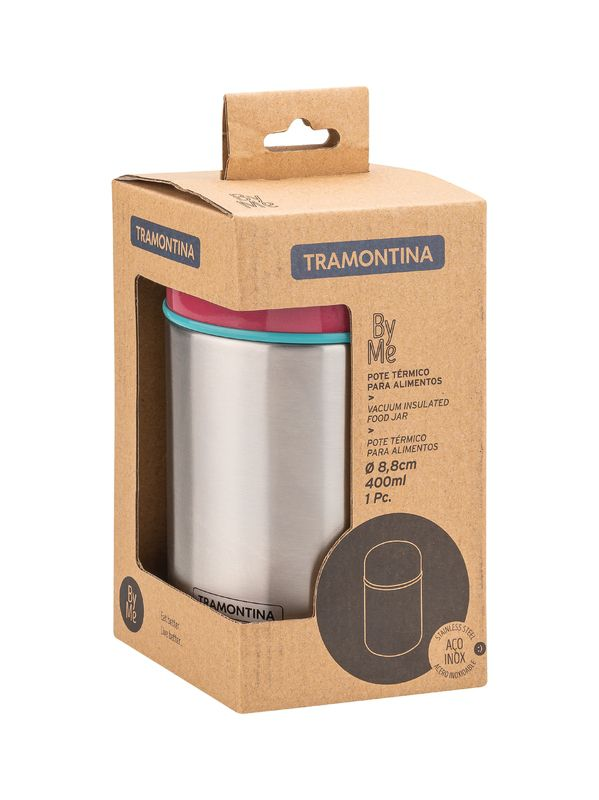 Pote Térmico Aço Inox 0,4 litros Tampa Rosa Tramontina