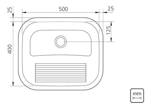 Tanque de Encaixe Tramontina Hera em Aço Inox Polido 50x40cm