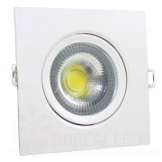 Kit 10 Spot LED 7W Cob Quadrado Branco Frio Embutir Direcionável Branco Frio
