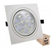 Kit 10 Spot Led 9w Quadrado Branco Frio Direcionável Bivolt