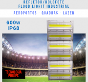 KIT 32 REFLETORES LED MODELO 2019 FLOOD LIGHT 600W IP68 TRÊS MÓDULOS NUMBER THREE