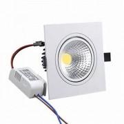 Kit 15 Spot LED 7W Cob Quadrado Branco Frio Embutir Direcionável Branco Frio